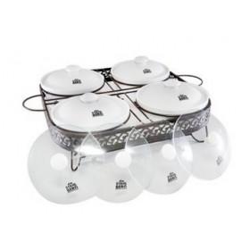 Stahlberg Прямоугольный мармит с 4 фарфоровыми контейнерами